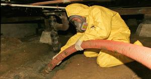 Fire Damage Restoration Long Beach Technician In Crawlspace
